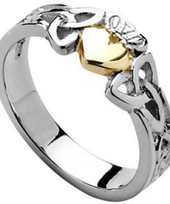 Ladies Sterling Silver Trinity Knot Claddagh with 10k Gold Heart