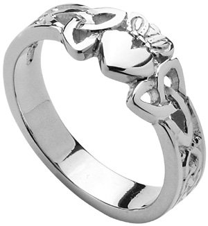 Ladies Sterling Silver or white gold Trinity Knot Claddagh Ring