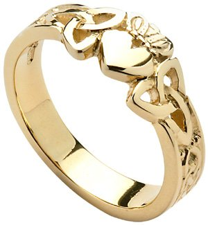 Ladies Yellow Gold Trinity Knot Claddagh Ring