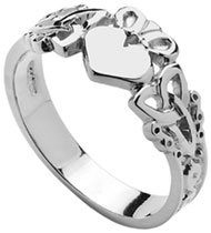White Gold or Silver Trinity Knot Claddagh Ring