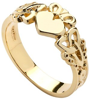 Mens Yellow Gold Trinity Knot Claddagh Ring