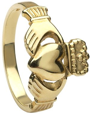 Ladies Yellow Gold Heavy Claddagh Ring