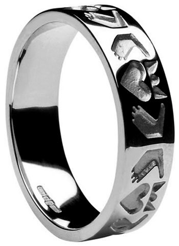 Sterling Silver Ladies Stylised Claddagh Band