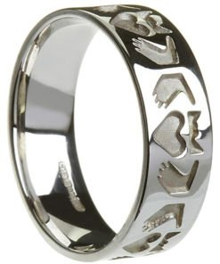 Ladies White Gold Stylised Claddagh Band