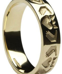 Ladies Yellow Gold Stylised Claddagh Band