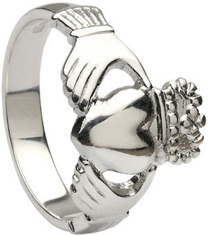 Mens White Gold Heavy Claddagh Ring