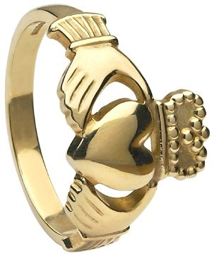 Mens Yellow Gold Heavy Claddagh Ring