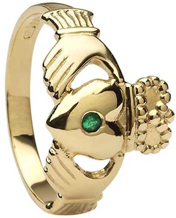Mens Gold Emerald Set Claddagh Ring