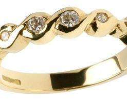 Ladies 14k Gold Celtic Knot Diamond Half Eternity Band