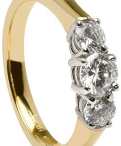 Yellow and White Gold Three Stone Diamond Irish Engagement Ring