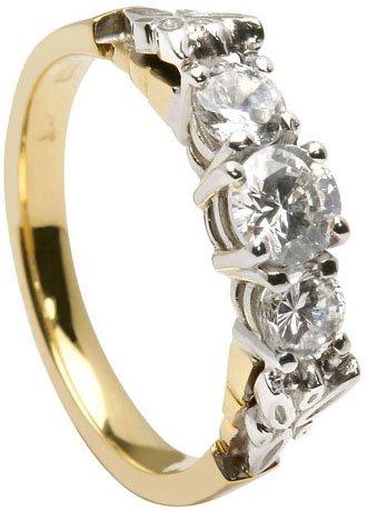 Gold Trinity Knot Three Stone Diamond Irish Engagement Ring
