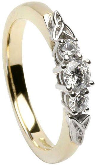 14k Gold Trinity Knot Three Stone Diamond Irish Engagement Ring