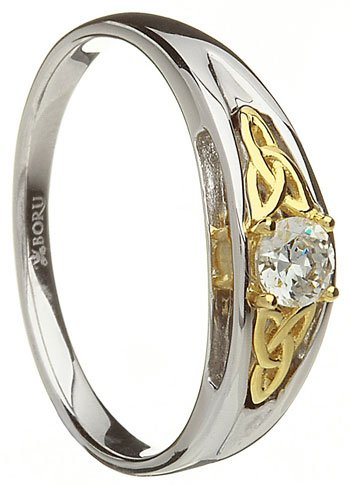 Two Tone Trinity Knot Engagement Ring with CZ Setting