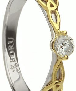 Handmade Two Tone Trinity Knot Engagement Ring with CZ Setting