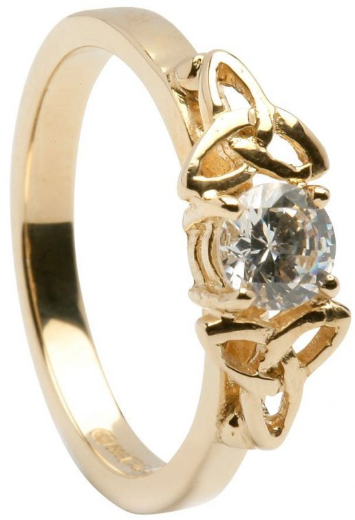 Ladies Gold Trinity Engagement Ring with Diamond Setting