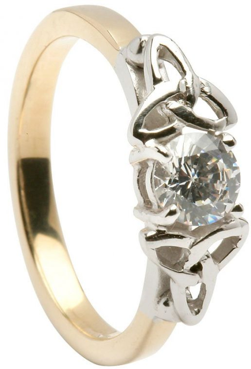 Ladies Gold Trinity Knot Solitaire Engagement Ring
