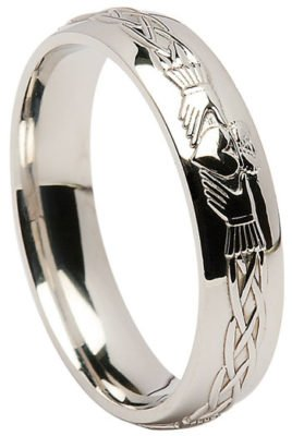 Sterling Silver Claddagh Celtic Wedding Band