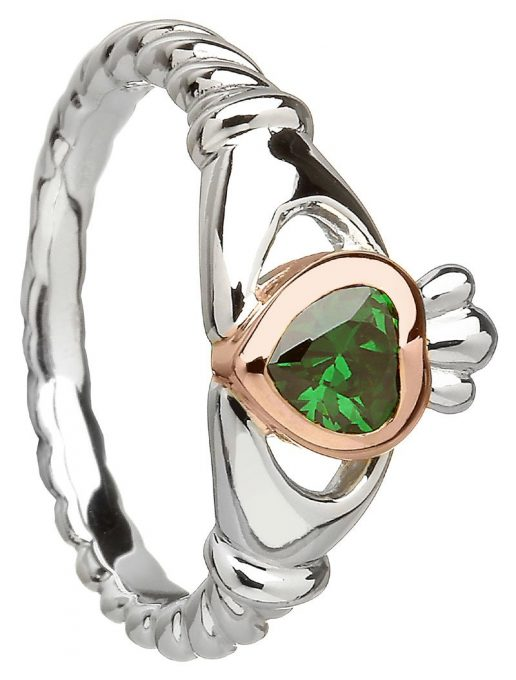 Rare Irish Gold Gemset Claddagh