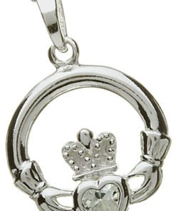 Silver Claddagh Birthstone Pendant - April
