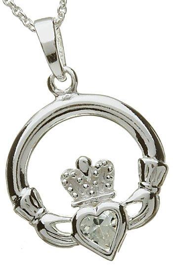 Silver Claddagh Birthstone Pendant - April