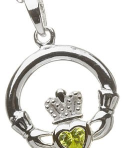 Silver Claddagh Birthstone Pendant - August