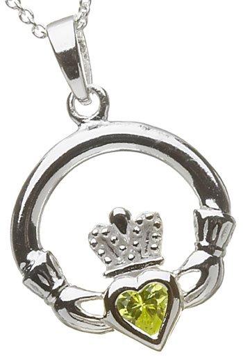Silver Claddagh Birthstone Pendant - August