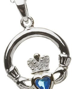 Silver Claddagh Birthstone Pendant - December