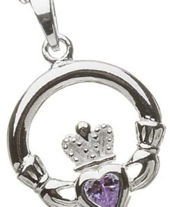 Sterling Silver Claddagh Birthstone Pendant - February