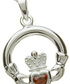Sterling Silver Claddagh Birthstone Pendant - January