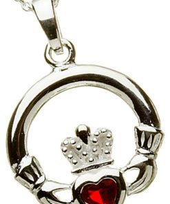 Silver Claddagh Birthstone Pendant - July