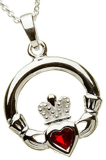 Silver Claddagh Birthstone Pendant - July