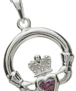 Silver Claddagh Birthstone Pendant - June