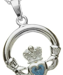 Sterling Silver Claddagh Birthstone Pendant - March