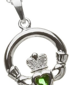 Silver Claddagh Birthstone Pendant - May
