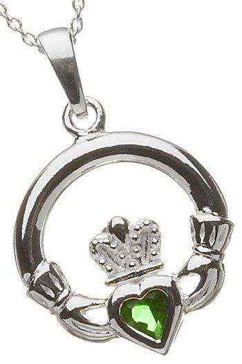 Silver Claddagh Birthstone Pendant - May