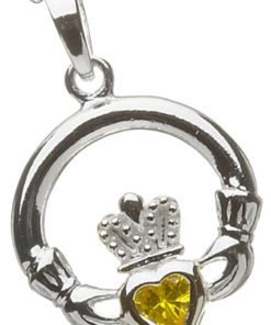 Silver Claddagh Birthstone Pendant - November