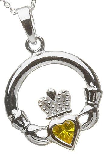 Silver Claddagh Birthstone Pendant - November