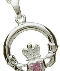 Silver Claddagh Birthstone Pendant - October