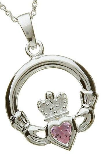 Silver Claddagh Birthstone Pendant - October