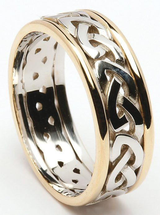 Sterling Silver Celtic Knot Ring with 10k Yellow Gold Rims