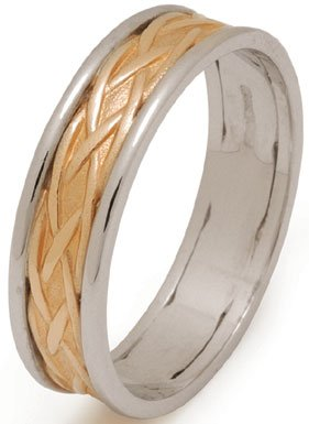 Two Tone Gold Celtic Weave Wedding Ring