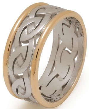 Heavy Gold Celtic Knot Wedding Ring with Rims