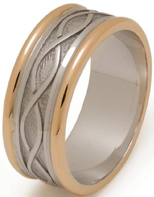 White or Yellow Gold Celtic Weave Wedding Ring with Rims