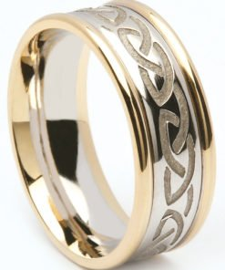 Two Tone Gold Celtic Knot Wedding Ring