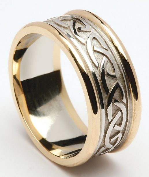 Traditional Celtic Knot Wedding Ring In Two Tone Gold
