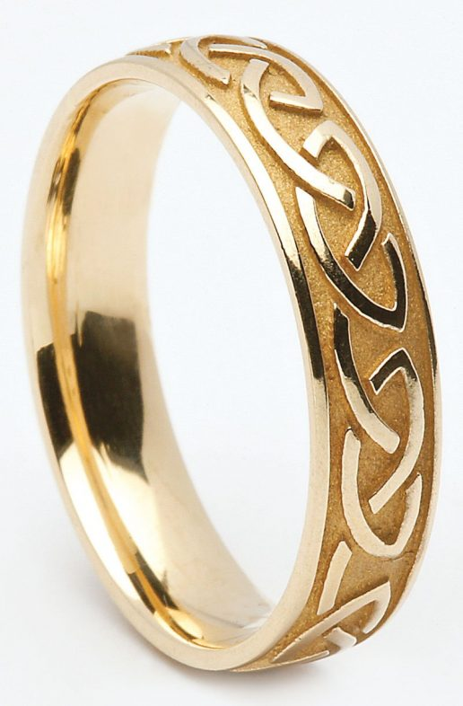 Yellow or White Gold Celtic Knot Wedding Ring