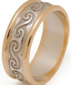 Yellow and White Gold Celtic Spiral Wedding Ring