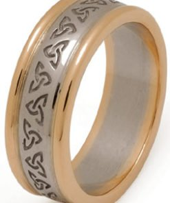 Two Tone Gold Trinity Knot Wedding Ring