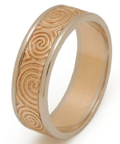 Yellow and White Gold Newgrange Celtic Spiral Wedding Ring