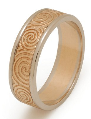 Yellow and White Gold Newgrange Celtic Spiral Wedding Ring